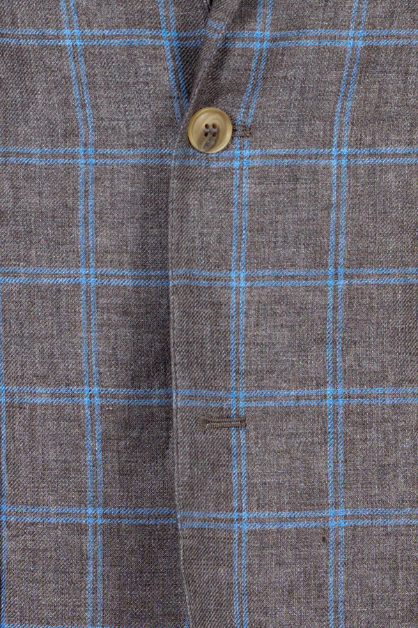 Pure Linen Windowpane Jacket