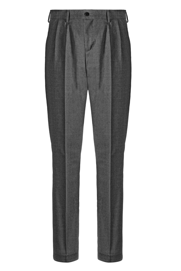 MONTEZEMOLO - Trousers - Dark Grey Double Pleat Trousers - MONTEZEMOLO