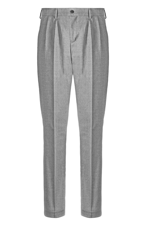 MONTEZEMOLO - Trousers - Light Grey Double Pleat Trousers - MONTEZEMOLO