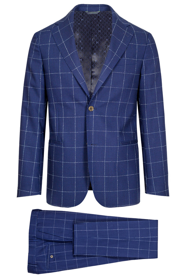 MONTEZEMOLO Men's Clothing - Suits - Blue Windowpane Loro Piana Fabric Suit - www.montezemolostore.com