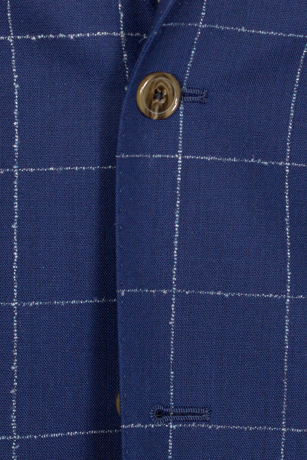 MONTEZEMOLO - Suits - Blue Windowpane Loro Piana Fabric Suit - MONTEZEMOLO