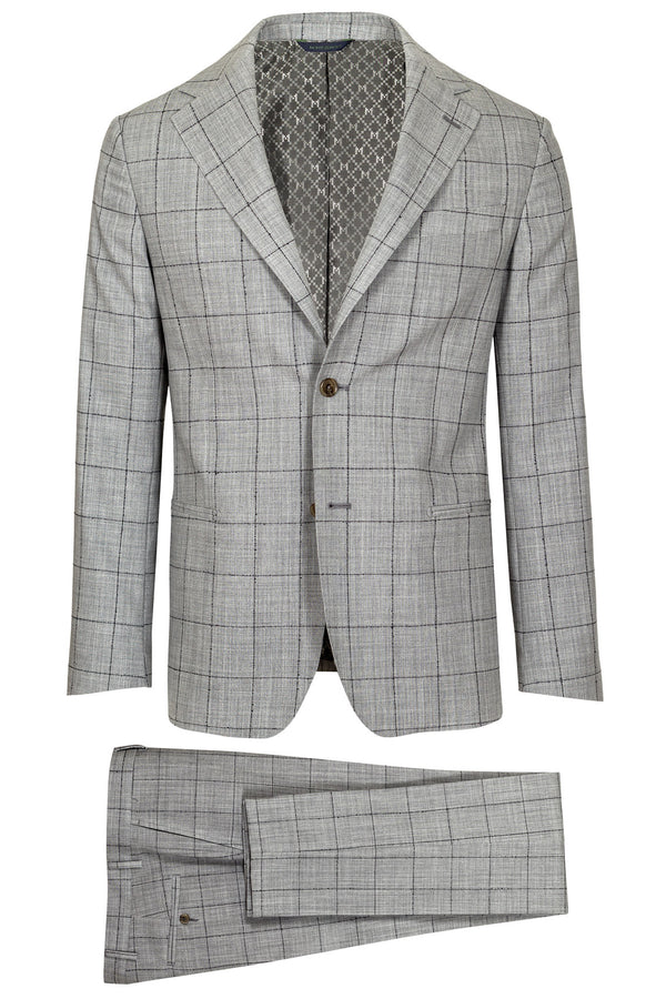 MONTEZEMOLO - Suits - Grey Windowpane Loro Piana Fabric Suit - MONTEZEMOLO