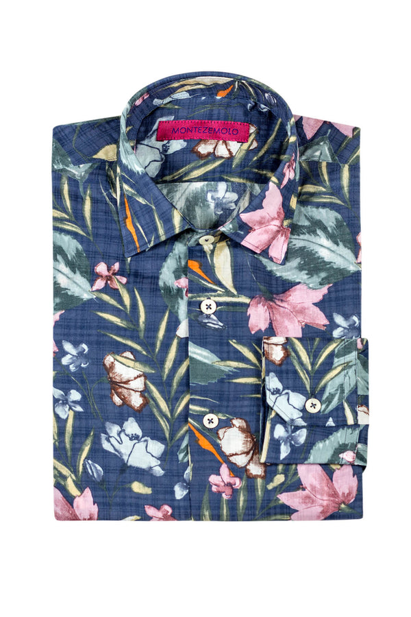 MONTEZEMOLO - Shirts - All-Over Floral Printed Cotton Shirt - MONTEZEMOLO