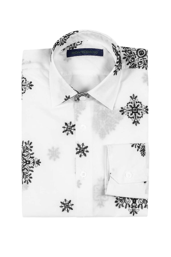 MONTEZEMOLO - Shirts - Embroidered White Cotton Shirt - MONTEZEMOLO