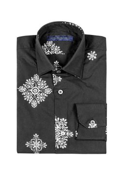 MONTEZEMOLO Men's Clothing - Shirts - Embroidered Black Cotton Shirt - www.montezemolostore.com