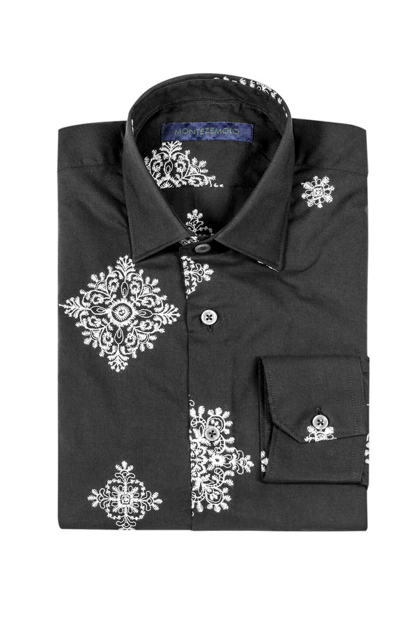 MONTEZEMOLO - Shirts - Embroidered Black Cotton Shirt - MONTEZEMOLO