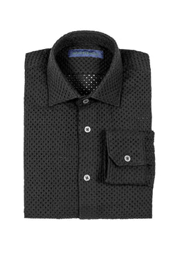 MONTEZEMOLO Men's Clothing - Shirts - Embroidered & Pierced Black Cotton Shirt - www.montezemolostore.com