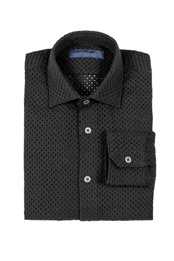 MONTEZEMOLO - Shirts - Embroidered & Pierced Black Cotton Shirt - MONTEZEMOLO