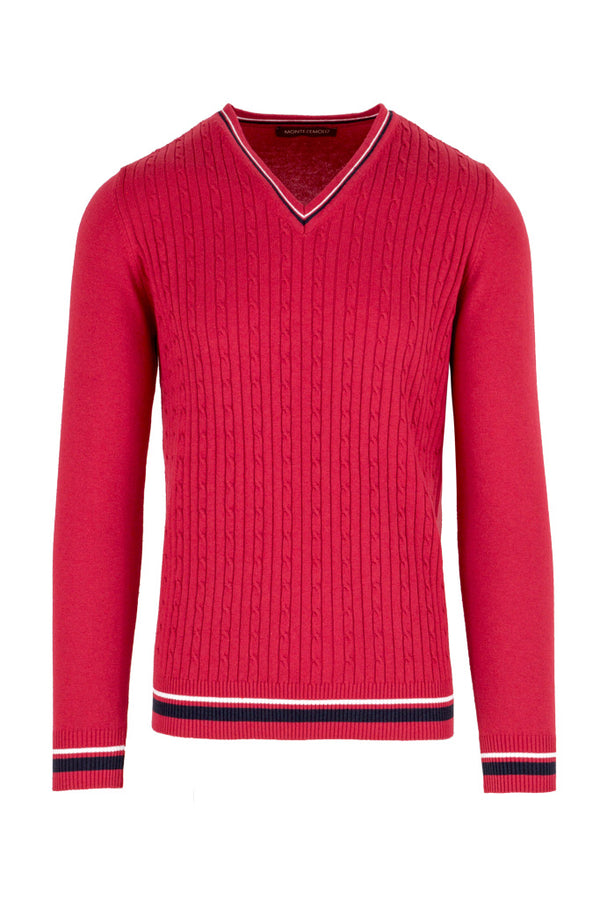 Cable-Knit V-Neck