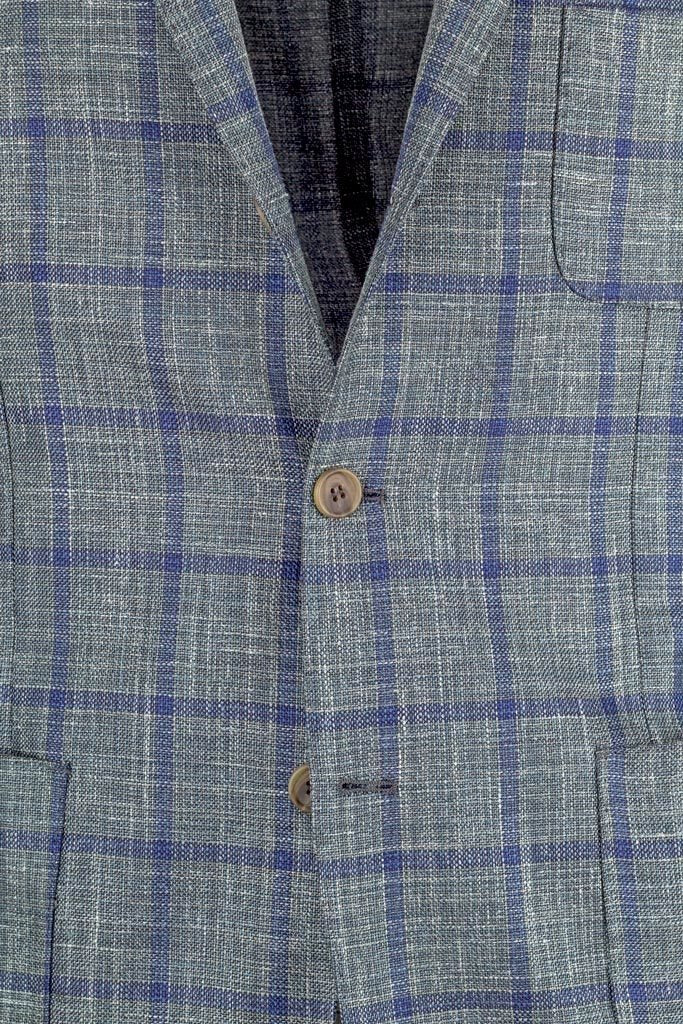 Checked Wool, Silk and Linen Jacket