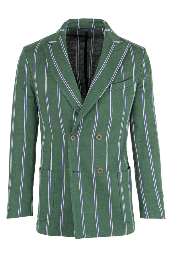 MONTEZEMOLO - Jackets - Doublebreasted Striped Linen Jacket - MONTEZEMOLO