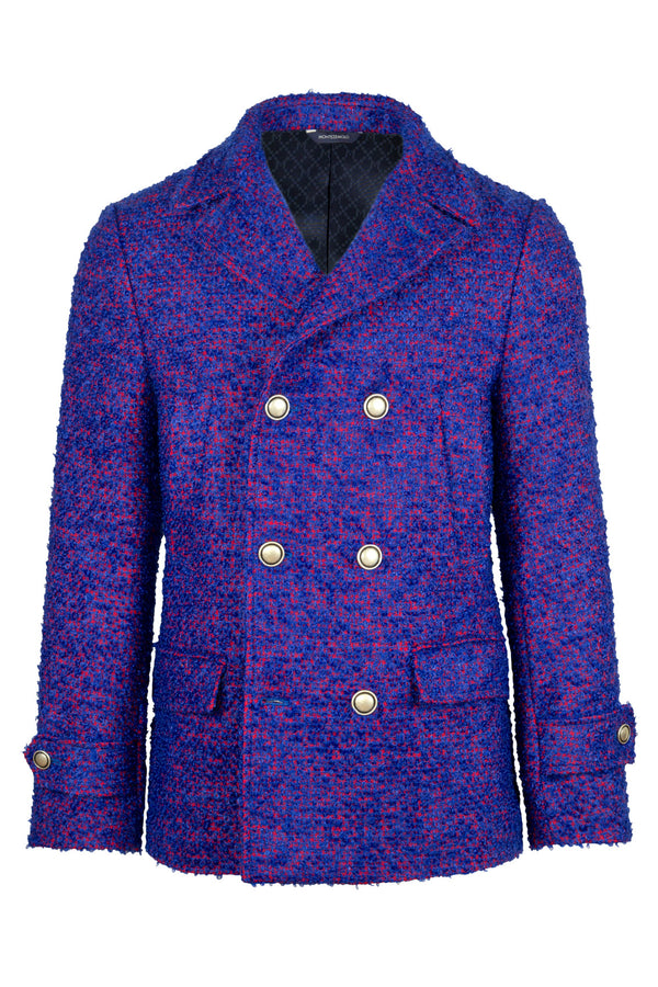 MONTEZEMOLO Men's Clothing - Outerwear - Fancy Mohair Wool Blend Pea Coat - www.montezemolostore.com