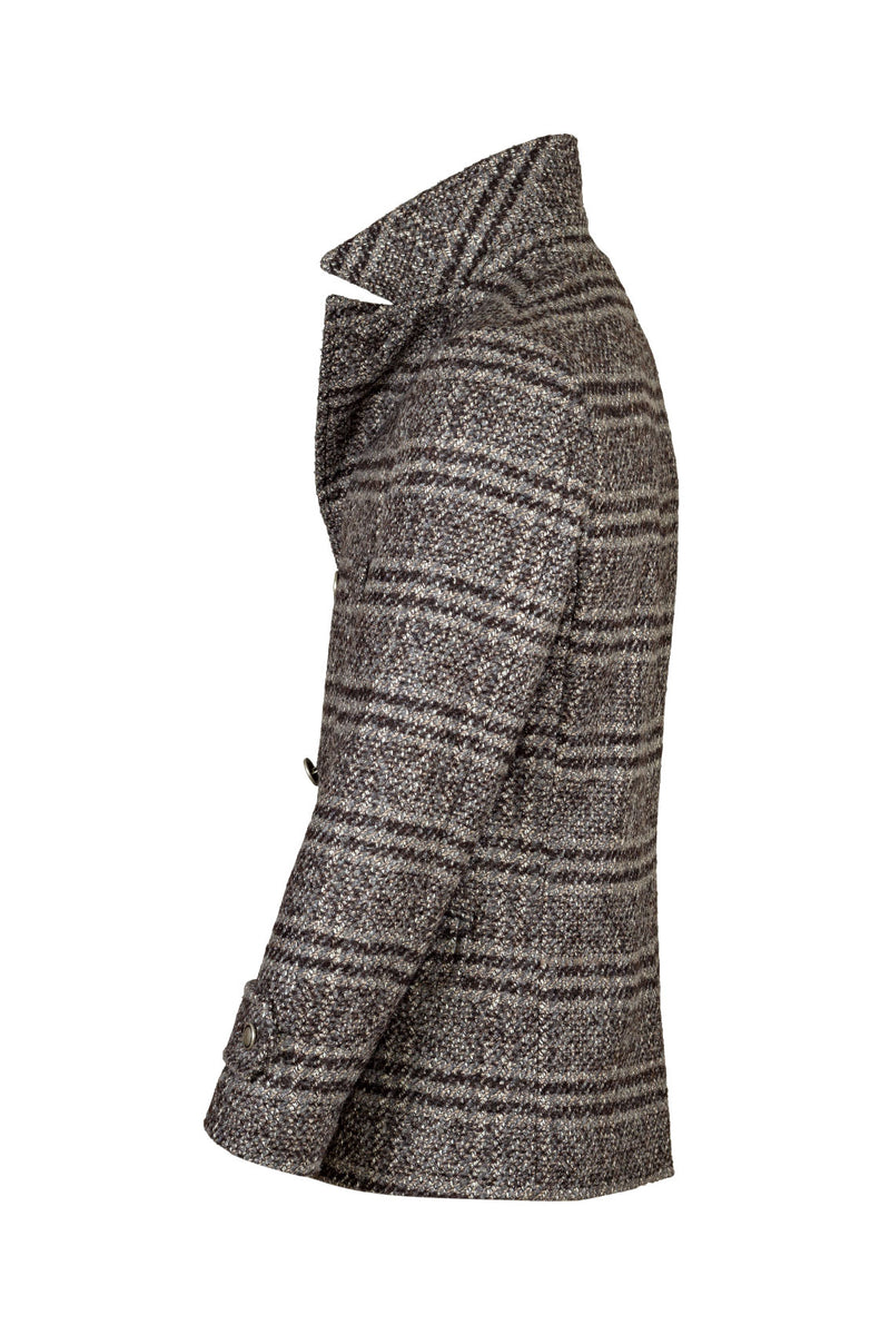 MONTEZEMOLO Men's Clothing - Outerwear - Prince-of-Wales Mohair Wool & Silk Blend Pea Coat - www.montezemolostore.com