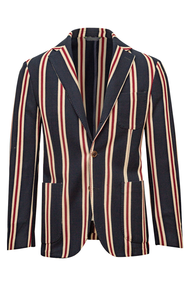MONTEZEMOLO Men's Clothing - Jackets - Striped Giro-Inglese Jersey Wave Cotton Jacket - www.montezemolostore.com