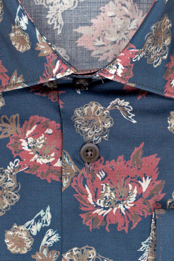 MONTEZEMOLO Men's Clothing - Shirts - All-over Printed Stretch Cotton Shirt - www.montezemolostore.com