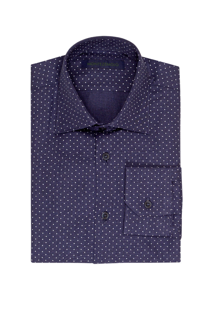 MONTEZEMOLO Men's Clothing - Shirts - Dotted Stretch Cotton Shirt - www.montezemolostore.com