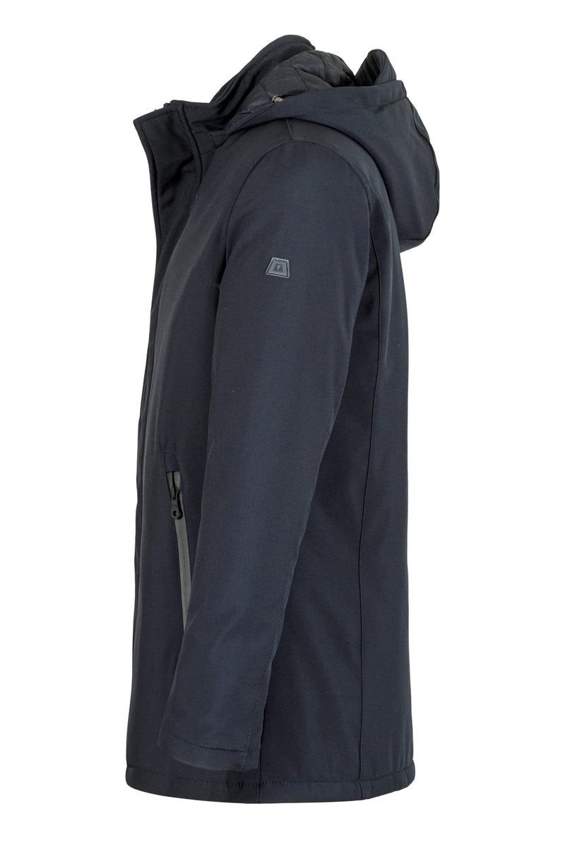MONTEZEMOLO Men's Clothing - Outerwear - Hooded Blue Padded Overcoat - www.montezemolostore.com