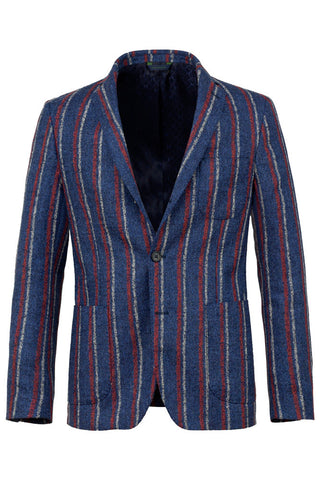 Wool Silk & Linen Blend Striped Jacket