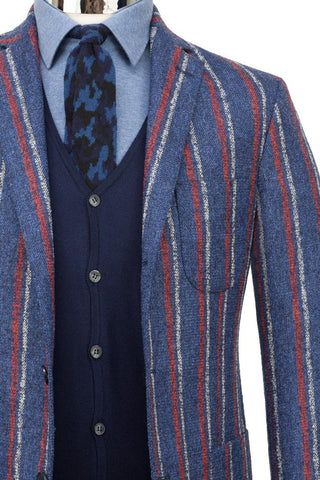 Wool Silk & Linen Blend Striped Jacket , Jackets - MONTEZEMOLO www.montezemolostore.com - 7