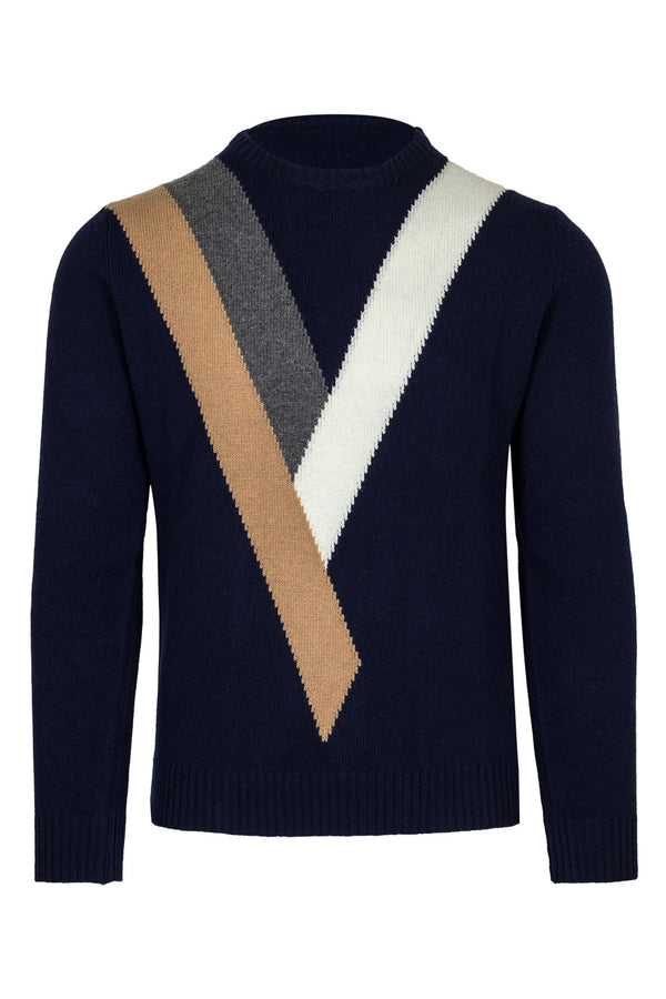 MONTEZEMOLO Men's Clothing - Knitwear - Geometric Fancy Wool Crewneck - www.montezemolostore.com