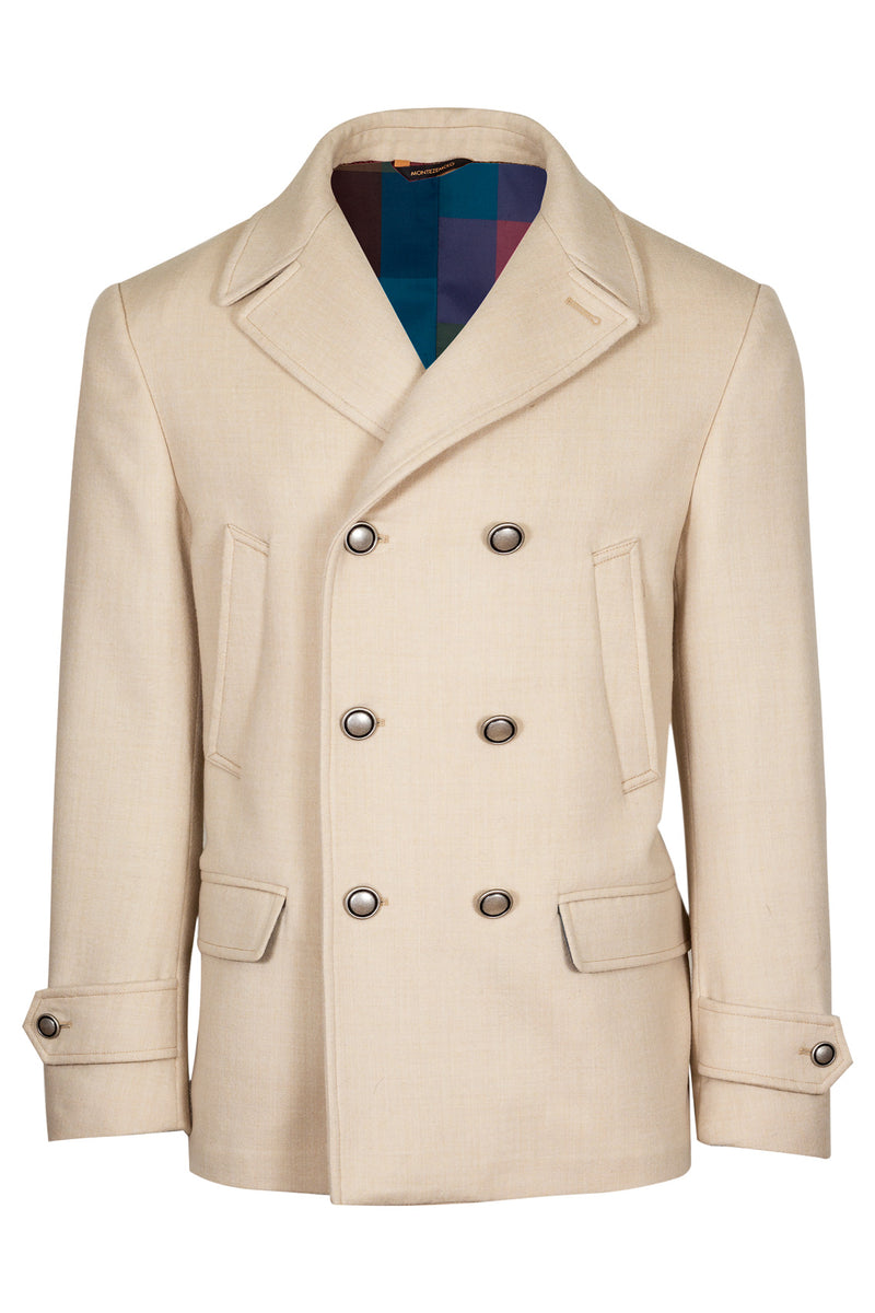 MONTEZEMOLO Men's Clothing - Outerwear - Wool Off-White Peacoat - www.montezemolostore.com