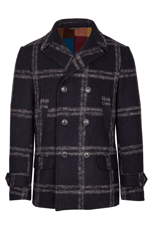 MONTEZEMOLO Men's Clothing - Outerwear - Blue Windowpane Peacoat - www.montezemolostore.com