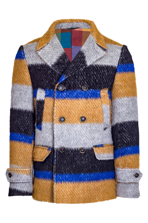 MONTEZEMOLO Men's Clothing - Outerwear - Wool Alpaca & Mohair Blend Striped Peacoat - www.montezemolostore.com