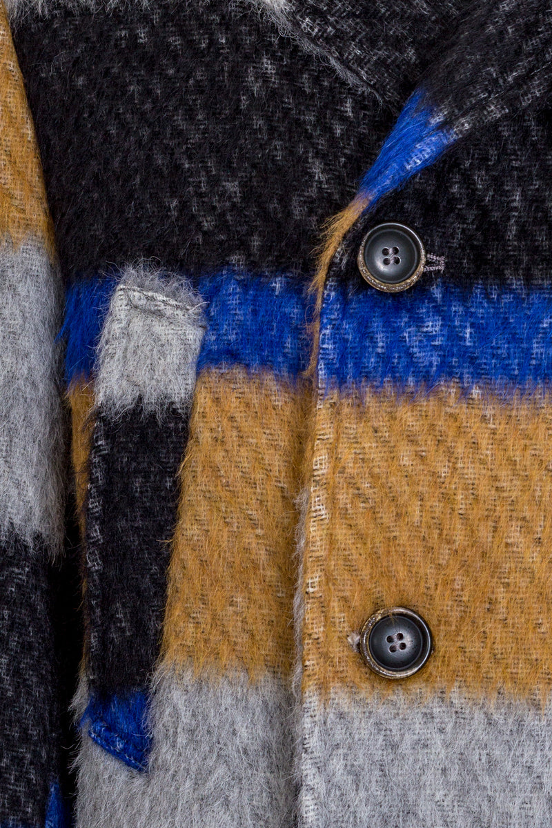 Wool Alpaca & Mohair Blend Striped Peacoat