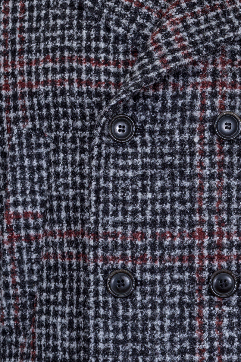 MONTEZEMOLO Men's Clothing - Outerwear - Grey Bouclé Yarn Windowpane Peacoat - www.montezemolostore.com