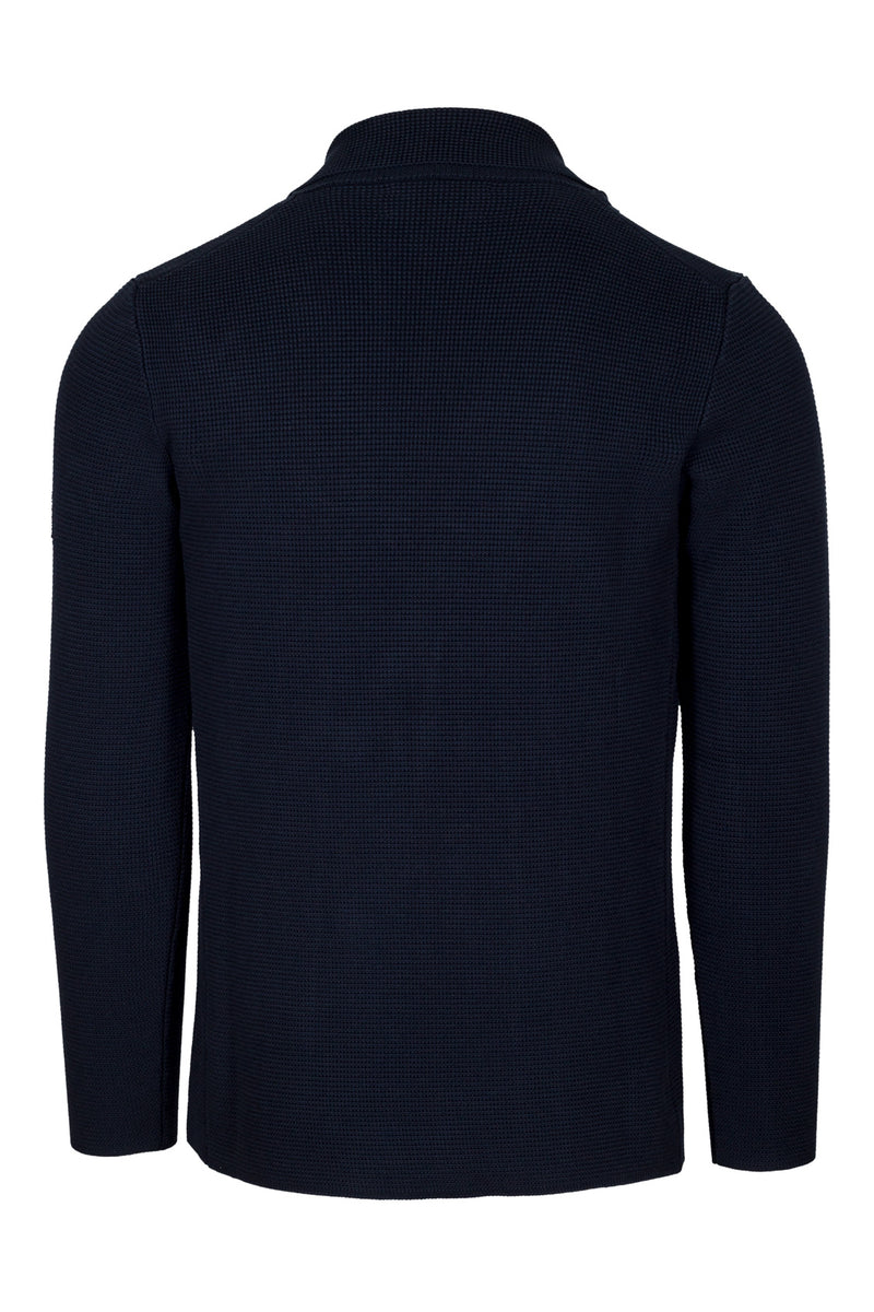 Navy Double-Breasted Stitch Knit Jacket