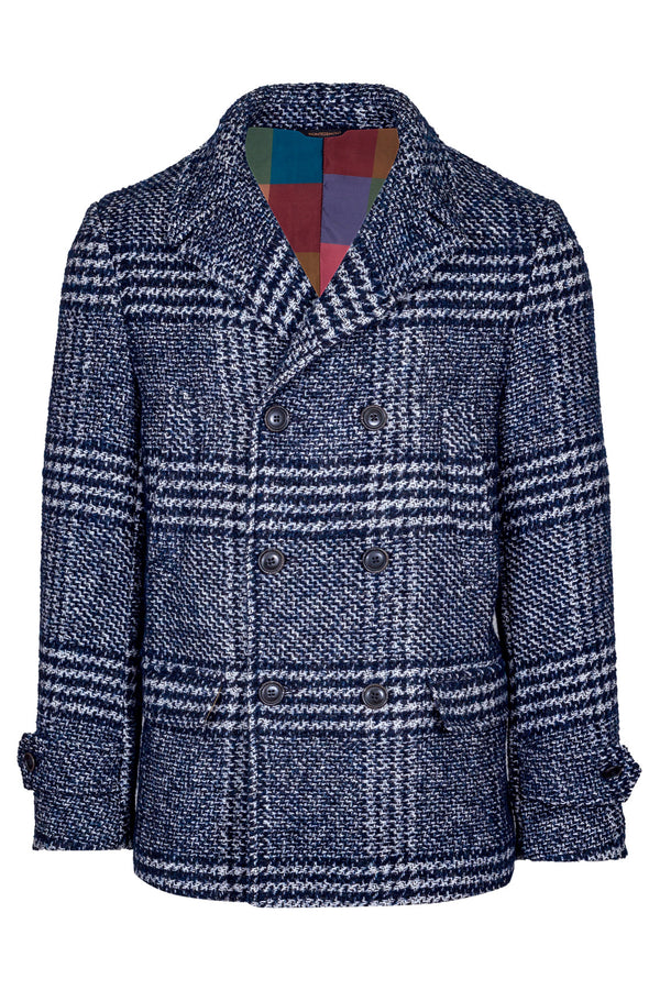 MONTEZEMOLO Men's Clothing - Outerwear - Wool & Pima Cotton Madras Fancy Peacoat - www.montezemolostore.com