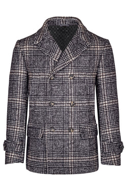 Pied-de-Poule Wool & Pima Cotton Pea Coat