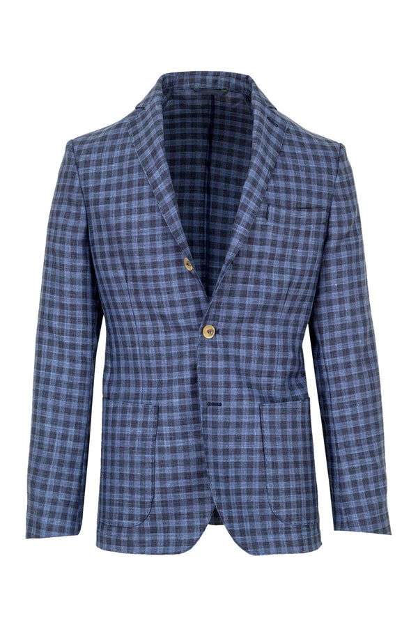Checkered Wool, Silk & Linen Jacket