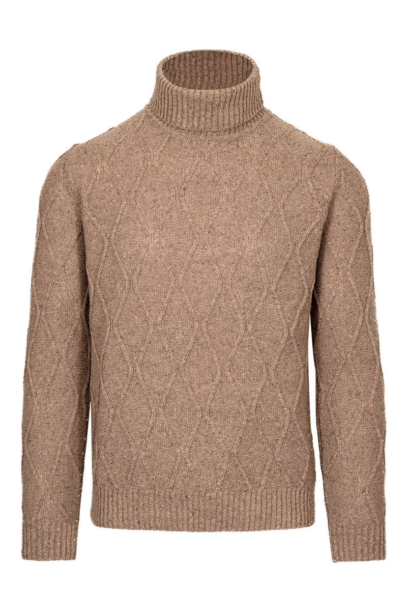 Wool & Silk Blend Cable-Knit Turtleneck