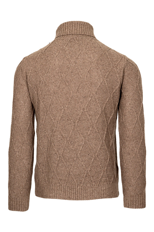 MONTEZEMOLO Men's Clothing - Knitwear - Wool & Silk Blend Cable-Knit Turtleneck - www.montezemolostore.com