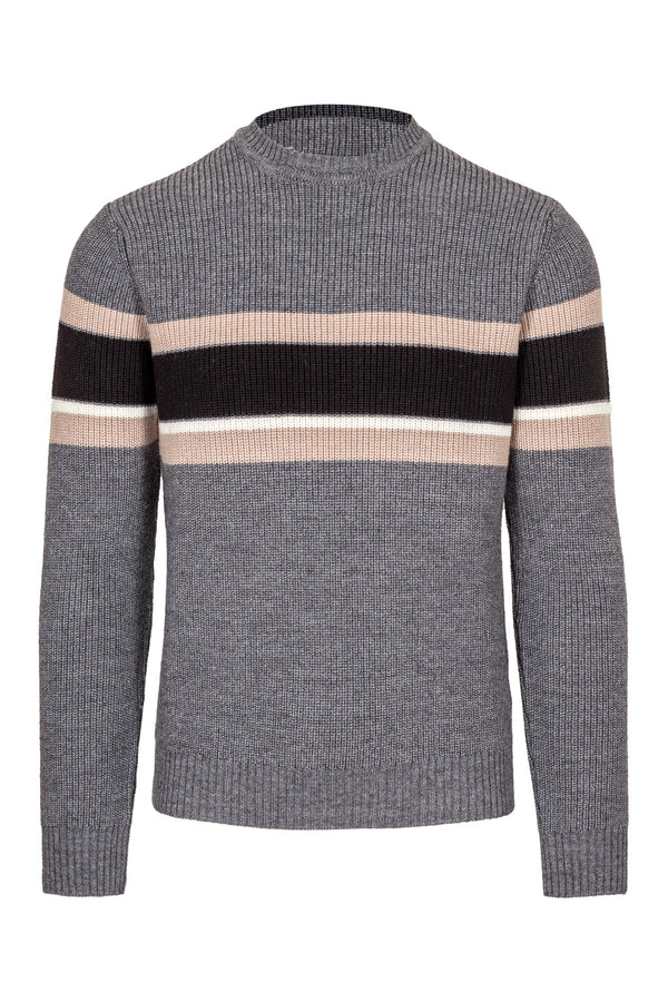 MONTEZEMOLO Men's Clothing - Knitwear - Wool Blend Striped Crewneck - www.montezemolostore.com