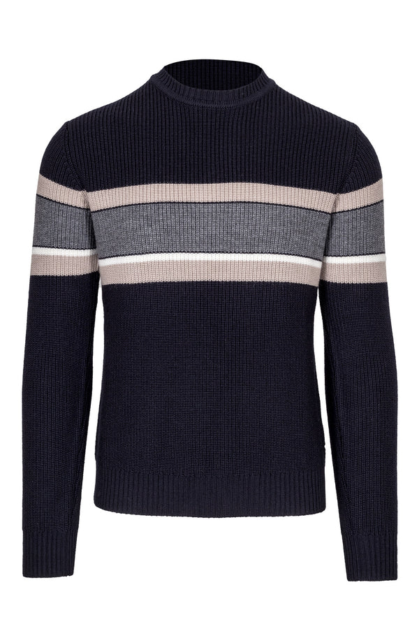 Wool Blend Striped Crewneck