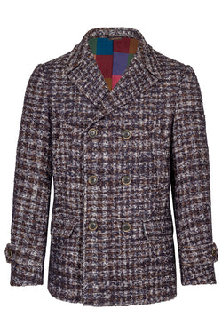 Pied-de-Poule Bouclet Yarn Fancy Wool Peacoat