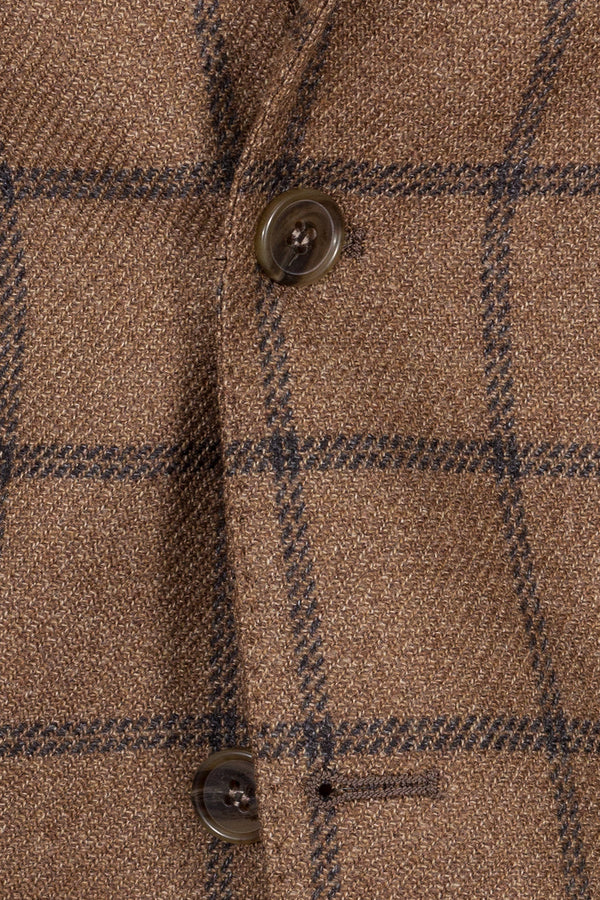 Check Wool & Silk Blend Jacket