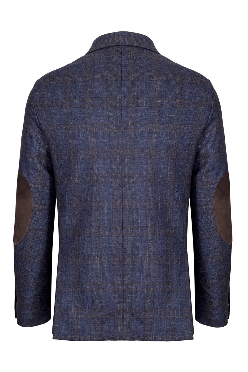 Wool Silk & Cashmere Blend Check Jacket