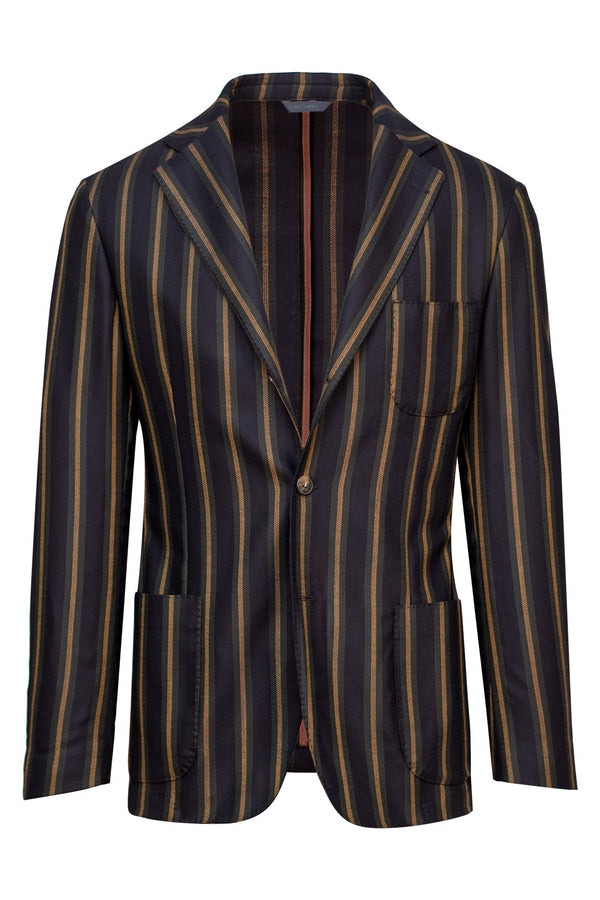 Wool & Silk Blend Striped Jacket