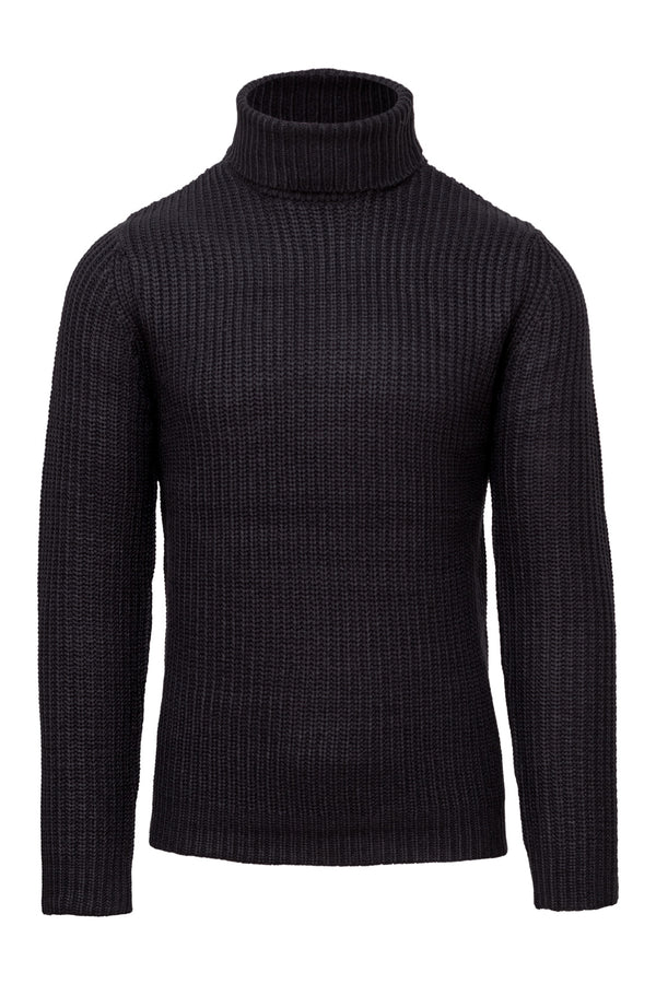 Wool Blend Blue Turtleneck Sweater