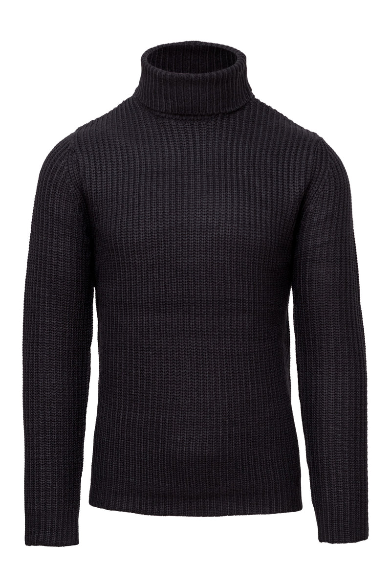 MONTEZEMOLO Men's Clothing - Knitwear - Wool Blend Blue Turtleneck Sweater - www.montezemolostore.com
