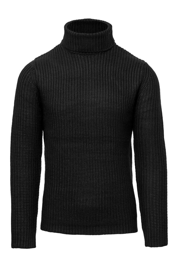 Wool Blend Black Turtleneck Sweater