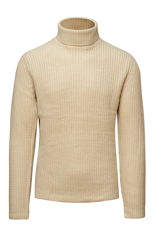 MONTEZEMOLO Men's Clothing - Knitwear - Wool Blend Off-White Turtleneck Sweater - www.montezemolostore.com