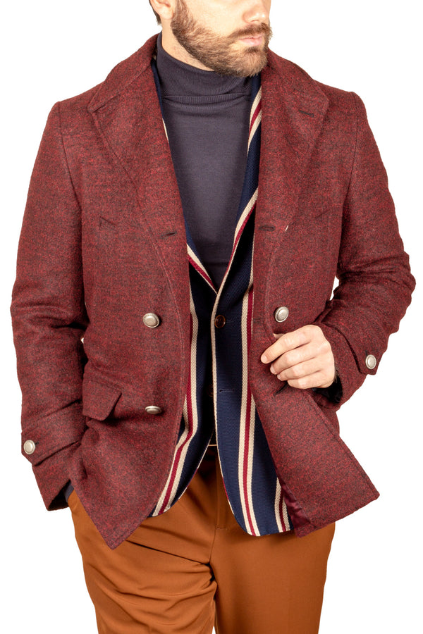 Rust Melange Yarn Wool & Cashmere Peacoat