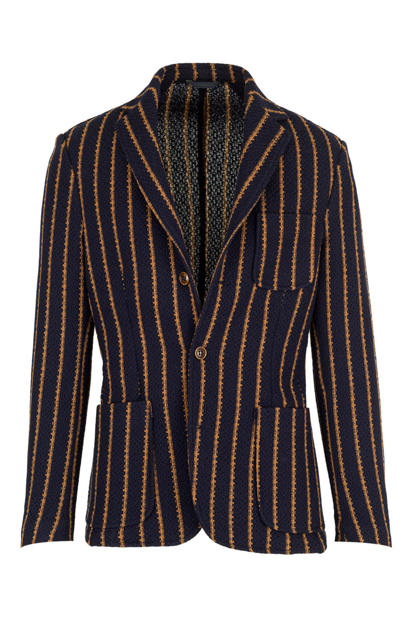 Striped Jersey Wave Wool Jacket