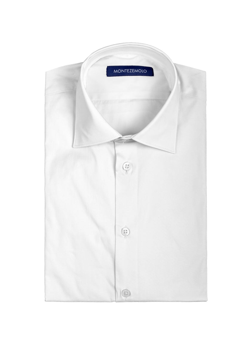MONTEZEMOLO Men's Clothing - Shirts - White Plain Cotton Shirt - www.montezemolostore.com