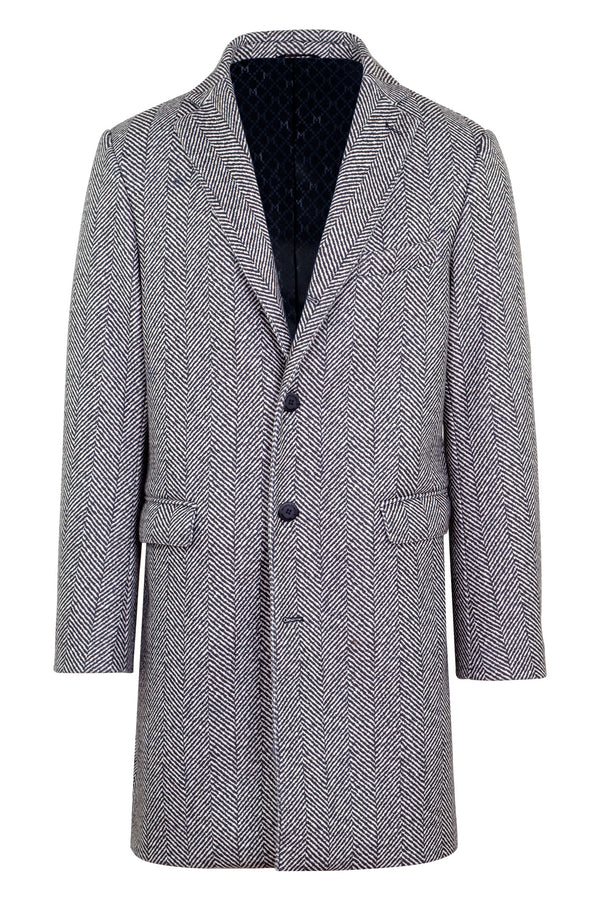 Printed Herringbone Technofabric Coat