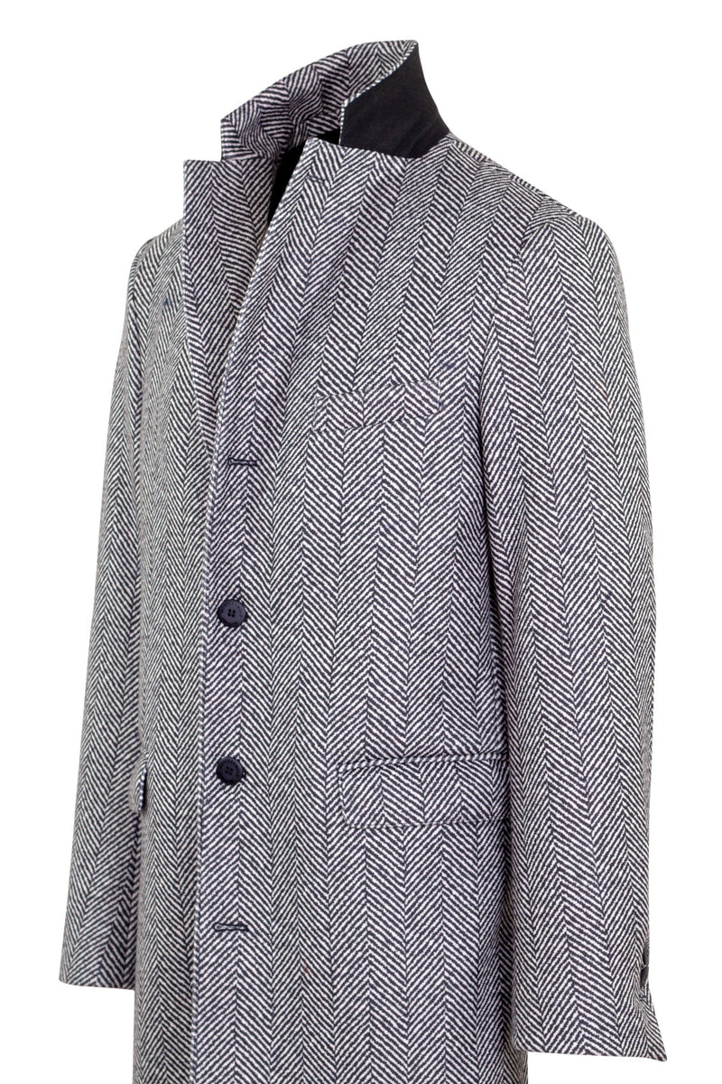 MONTEZEMOLO Men's Clothing - Outerwear - Printed Herringbone Technofabric Coat - www.montezemolostore.com